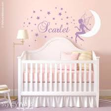 Fairy Wall Decal Baby Girl Room Nursery Sticker Personalized Moon Star Nursery Wall Decor Girl Baby Girl Room Wall Decal Fairy