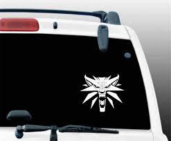 Amazon Com Aqeuno Car Decal Car Sticker 14 3x12 3cm Creativedecal The Witcher Wolf Medallion Car Sticker For Car Laptop Window Sticker Home Kitchen