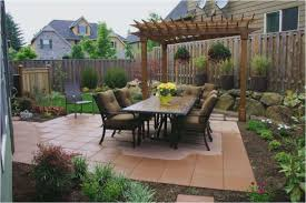 square patio backyard spring gardening