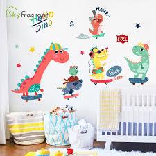 Cartoon Skateboard Dinosaur Wall Sticker Creative Stickers Kids Room Decoration Baby Bedroom Home Decor Self Adhesive Cute Paper Wall Stickers Aliexpress