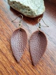 petite brown leather leaf earrings