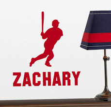 Baseball Player Vinyl Wall Decal With Personalized Name For Boys Bedroom Playroom Customvinyldecor Com