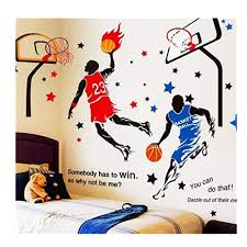 Amazon Com Kelay Fs 3d Basketball Wall Decals Sports Decals Basketball Stickers Wall Decor Basketball Player Wall Stickers For Boys Room Bedroom Decor Blue2 Red Baby