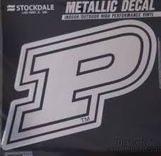 Purdue Boilermakers 12 Large Silver Metallic Vinyl Auto Decal University Of For Sale Online