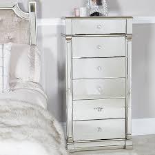 gold mirrored 6 drawer tallboy chest