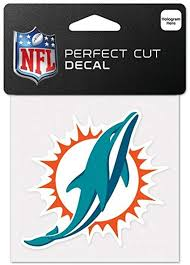 Amazon Com Miami Dolphins Official Nfl 4 Inch X 4 Inch Die Cut Car Decal By Wincraft 630537 Sports Fan Decals Sports Outdoors