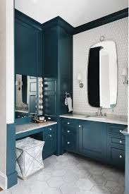 Glossy Blue Cabinets With White Picket Fence Backsplash Tiles Transitional Bathroom
