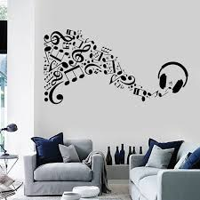 Notes Music Symbol Vinyl Wall Decal Headphone Musical Art Sticker Boy Teen Room Mural Decals Creative Home Decor Wallpaper La780 Wall Stickers Aliexpress