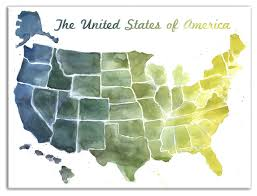 United States Blue And Green Watercolor Map Wall Art Contemporary Prints And Posters By Designs Direct