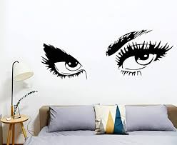 Amazon Com Hjaa Women Beautiful Eyes Wall Decals Big Eyes Wall Stickers Removable Vinyl Decor Wall Art For Living Room Bedroom Decoration Black 15 X17 Kitchen Dining