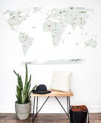 Water Color World Map Wall Decal The Lovely Wall Company