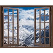Window Frame Mural Mountains In Everest Region Peel And Stick Illusi Royalwallskins