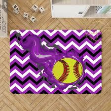Softball Decor Softball Area Rug Purple Chevron Rug 283 Eloquent Innovations