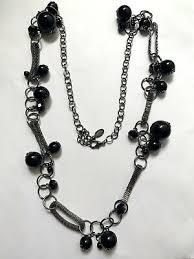 Ethel & Myrtle Long Gunmetal Gray Black Beaded Mesh Station Necklace  Statement | eBay