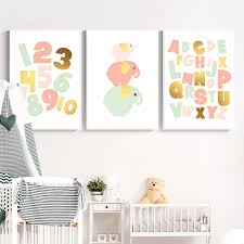 2020 Abc Number Wall Art Posters Watercolor Alphabet Educational Canvas Painting Nursery Print Pink Elephant Picture Kids Room Decor From Haloqueen 3 62 Dhgate Com