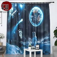 Blue Blackout Curtains For Kids Room Bedroom 3d Printed Living Room Curtains Outer Space Planet Children Boys Custom Blinds Curtains Aliexpress