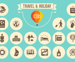 travel and holiday retro icons vector