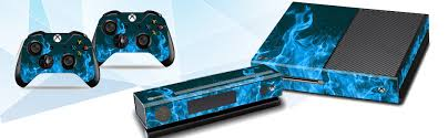 Amazon Com Skins Stickers For Xbox One Xbox One Console Remote Controller Protective Vinyl Decals Covers Leather Texture Protector Accessories Fit Xbox 1 Controller Blue Fire Computers Accessories