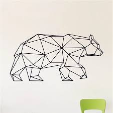 Geometric Bear Wall Decal Bear Vinyl Wall Stickers Modern Home Decor Wall Decoration Stickers Modern Vinyl Wall Stickerswall Sticker Aliexpress