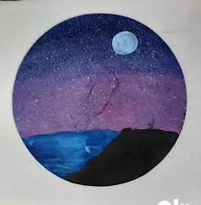 Starry Night Scene Wall Decal Hand Painted With Water Color By My 6th Grader Cousin Available For Just 19 99 Artstore