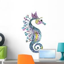 Creative Watercolor Seahorse Wall Decal Sticker Wallmonkeys Peel Stick Vinyl Graphic 24 In H X 14 In W Walmart Com Walmart Com