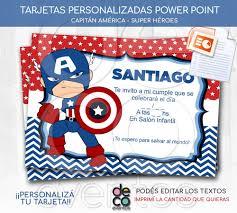 Tarjeta Cumpleanos Super Heroes Capitan America Power Point
