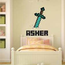 Boys Sword Personalized Name Wall Decal Bedroom Design Decals Video Game Wall Decal Murals Primedecals