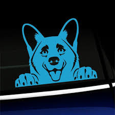 Peeking Corgi Vinyl Car Decal Choose Color Ice Blue Walmart Com Walmart Com
