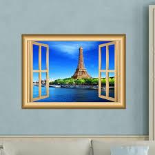 East Urban Home Eiffel Tower Paris Window Wall Decal Wayfair