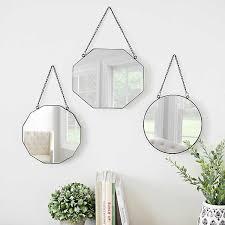 metal shapes hanging wall mirrors set