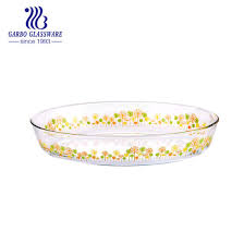 oven safe airtight printed oval glass