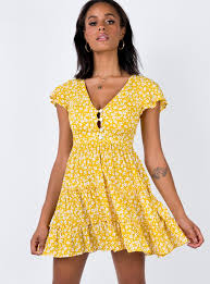 The Foster Mini Dress Yellow Floral