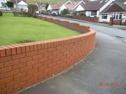 9 inch red face brick garden wall with