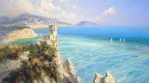 fantasy landscape painting hd wallpaper