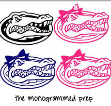 Florida Gator Car Decal With Bow Car Sticker By Themonogrammedprep 2 99 Silhouette Crafts Florida Gators Logo Gifts