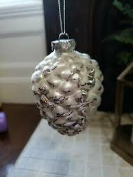 vintage glass silver pinecone