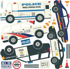 Five Police Vehicle Wall Decals Straight Curved Road Eco Friendly