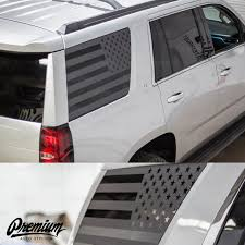 2015 2019 Chevrolet Tahoe Pre Cut American Flag Rear Quarter Window Decal Set