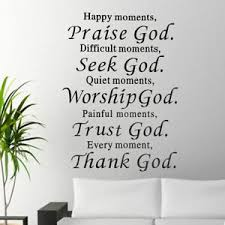 home diy removable happy moment praise god quote vinyl wall mural