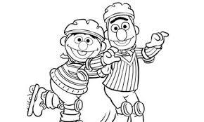 Kleurplaat Van Bert Ernie Die Aan Het Rolschaatsen Zijn Om Zelf