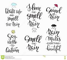 rain autumn days quotes typography set stock illustration