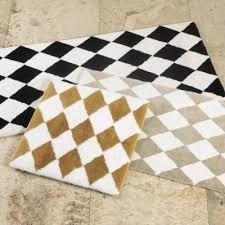 harlequin bath rug black white rug