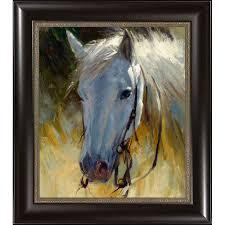 white horse framed wall art framed
