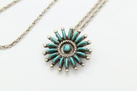sterling silver and turquoise zuni sun