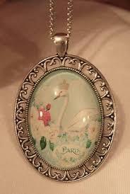 Lovely Flute Swirled Rim Pastel Crowned Swan Wendy Patterson Silvertne  Necklace | eBay