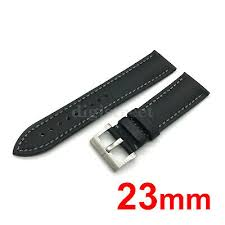 23mm black sailcloth leather watch band