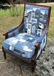 Pin by Priscilla Peterson on Interiors in 2020 | Patchwork chair, Denim  furniture, House quilts