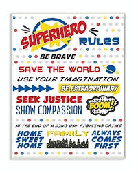 2020 Sales On The Kids Room By Stupell Comic Book Dots Super Hero Rules Typography Oversized Wall Plaque Art 12 5 X 0 5 X 18 5 Proudly Made In Usa