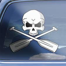 Canoe Skull Crossbones Decal Sticker Canoeing Window Decal Etsy