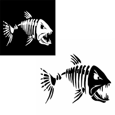 2pcs Skeleton Fish Stickers Fish Teeth Mouth Stickers Graphics Accessories For Kayak Fishing Boat Canoe Dinghy Window Car Rowing Boats Aliexpress